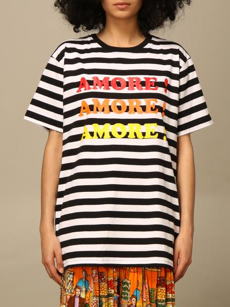 T-shirt Alessandro Enriquez a righe con stampa amore