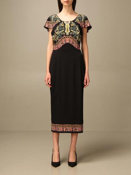 Etro women: Etro midi dress in viscose with embroidery