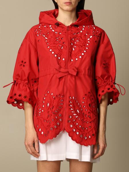 Red Valentino: Cappotto con cappuccio Red Valentino in cotone Sangallo