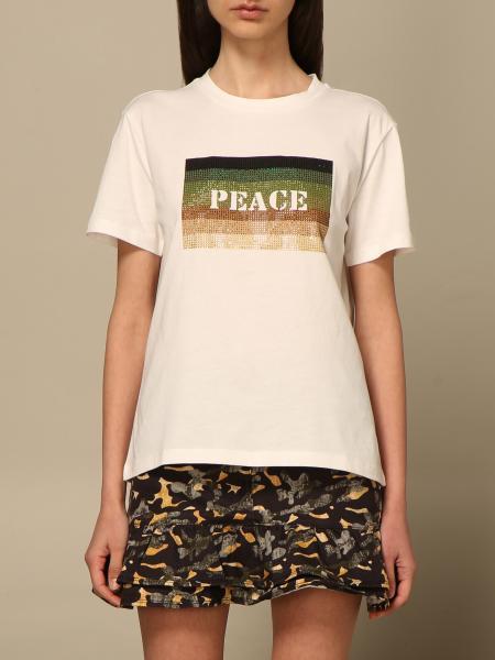 Patrizia Pepe women: Patrizia Pepe t-shirt with peace writing