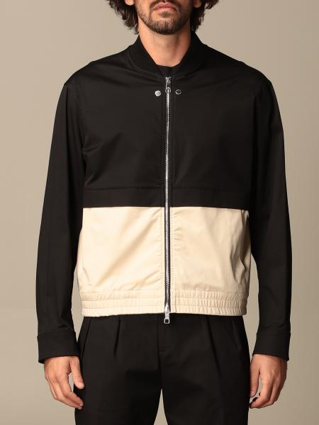 Neil Barrett zip-up jacket in two-tone stretch cotton