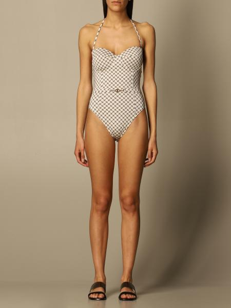 Elisabetta Franchi one-piece swimsuit with clamps print