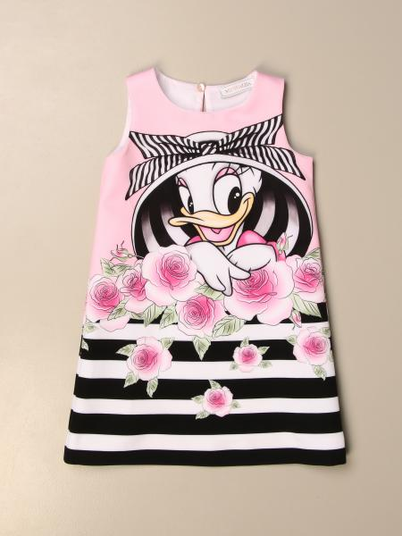 Monnalisa floral patterned dress with Daisy Duck print