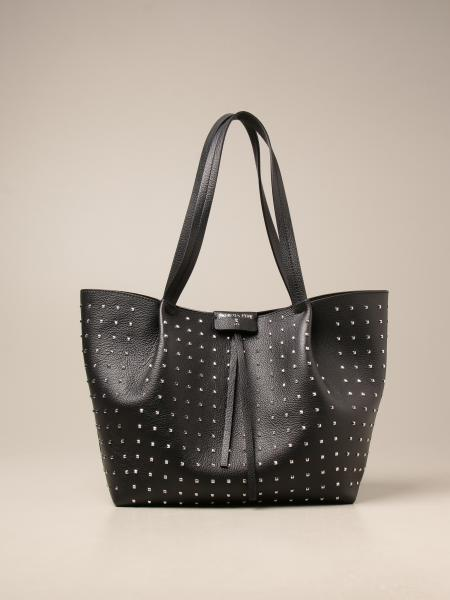 Patrizia Pepe shopping bag in hammered leather with studs