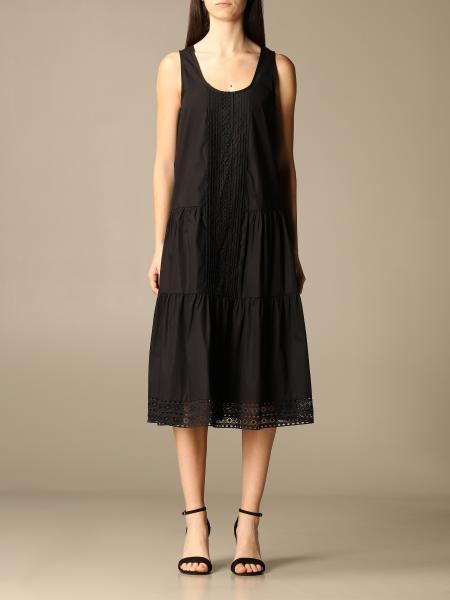 Twinset women: Twin-set midi dress in cotton with lace