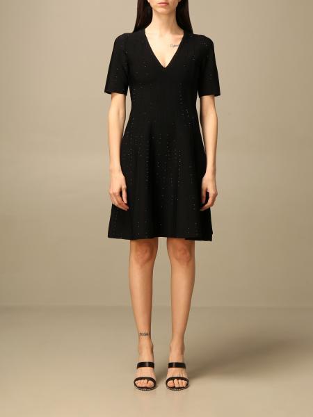 Emporio Armani women: Emporio Armani v-neck dress with all-over micro rhinestones