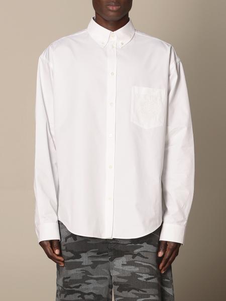 Balenciaga: Camicia Balenciaga in popeline con logo ricamato