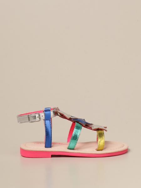 Billieblush: Billieblush laminated sandals with stars