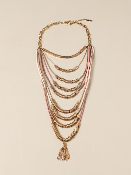 Twin Set necklace in metal links with fringes