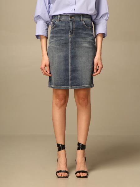 Emporio Armani women: Emporio Armani denim skirt in washed denim