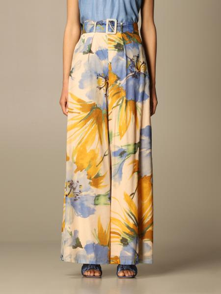 Twin Set Actitude: Twin-set Actitude wide trousers with floral pattern