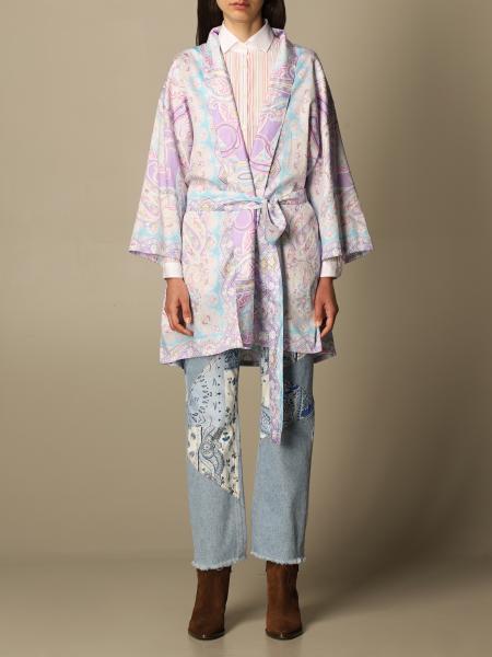 Etro women: Etro kimono duster coat in Paisley cotton