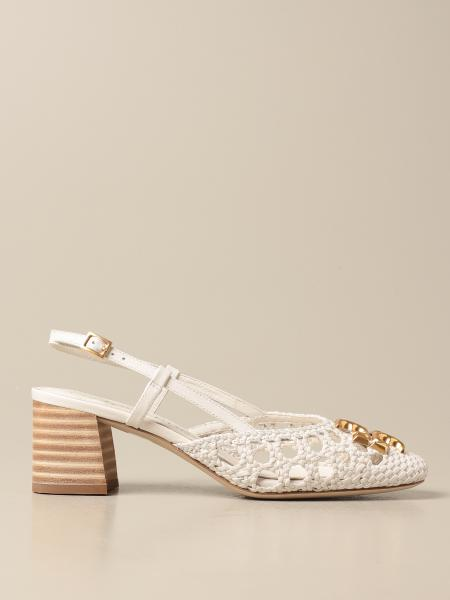 Tory Burch: Tory Burch slingback in woven leather with logo