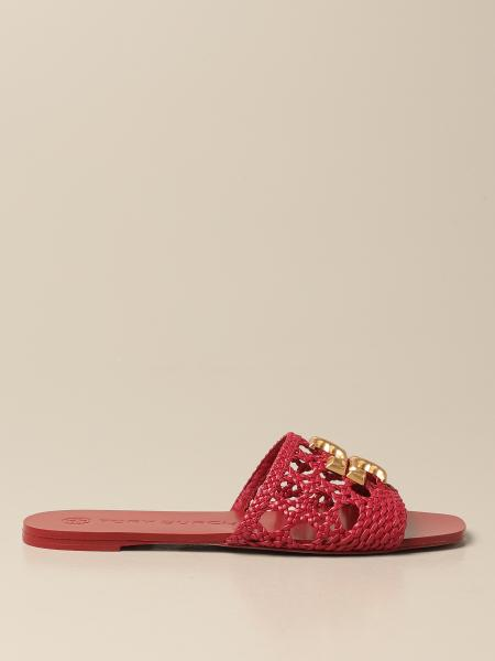 Tory Burch: Tory Burch sandals in woven leather with logo