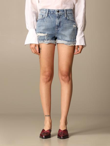 Frame: Pantaloncino di jeans Frame in denim con rotture