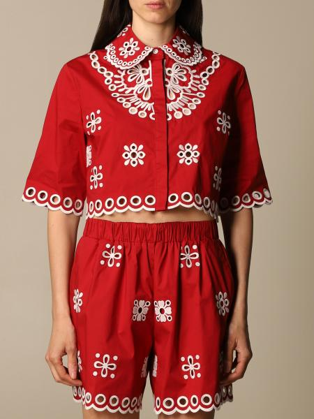 Red Valentino cotton shirt with Sangallo embroidery