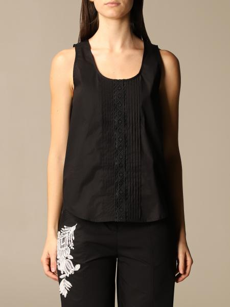 Twinset women: Twin-set top with pleats and macramé