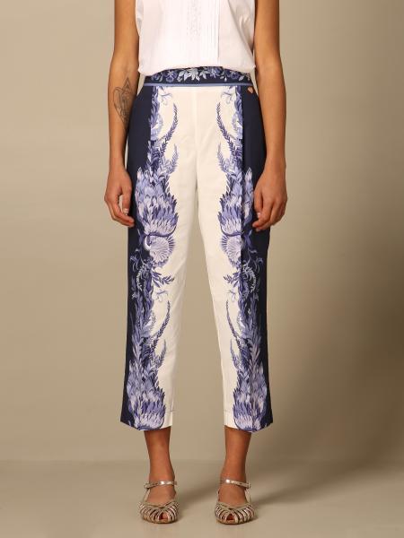 Twinset women: Twin-set pants in poplin with porcelain print