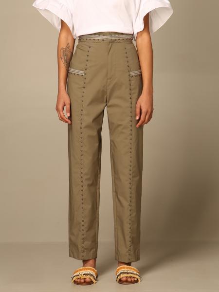 Twinset women: Twin-set pants in poplin with studs