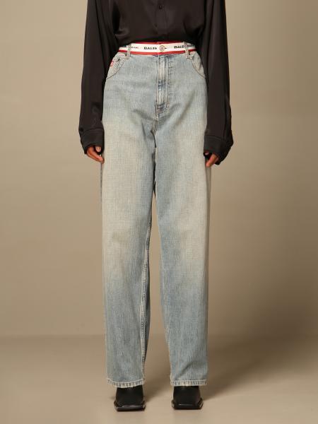 Balenciaga: Jeans Balenciaga a vita alta con logo