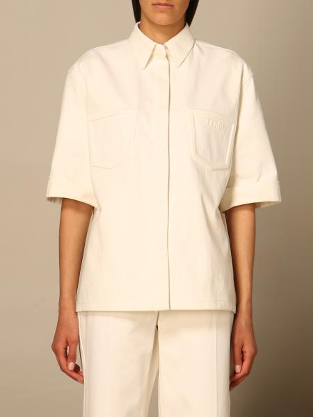 Fendi women: Fendi cotton shirt with patch pockets in relief