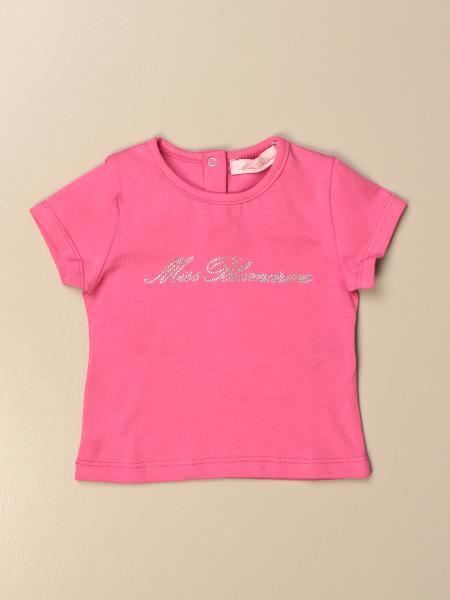 T-shirt Miss Blumarine in cotone con logo di strass