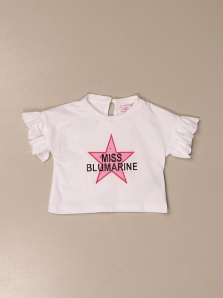 T-shirt cropped Miss Blumarine in cotone con logo