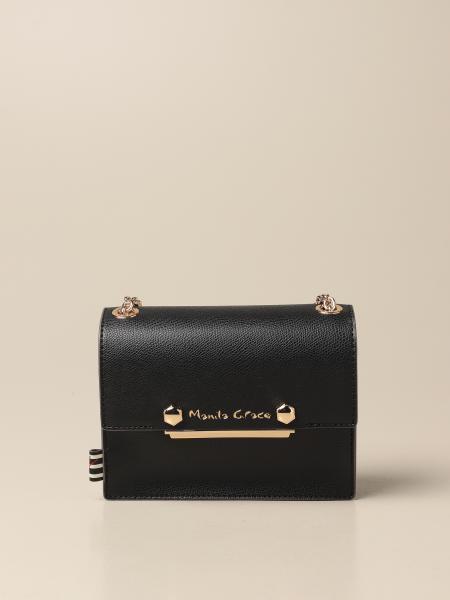 Manila Grace women: Manila Grace crossbody bag in grained synthetic leather