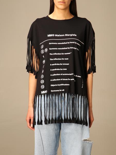 Mm6 Maison Margiela: T-shirt Mm6 Maison Margiela con logo e frange