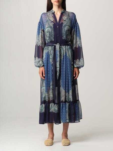 Twinset women: Twin-set long dress with paisley pattern and foulard