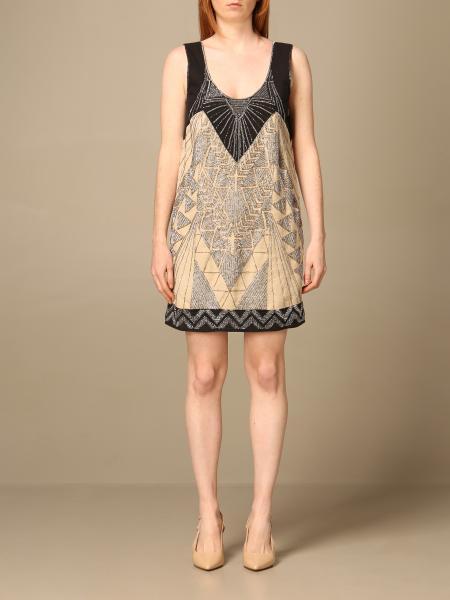 Twinset women: Twin-set short dress in embroidered linen blend