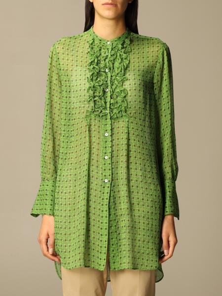 Aspesi: Camicia Aspesi in seta con stampa geometrica