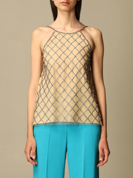 Pinko women: Pinko mesh top with crystals