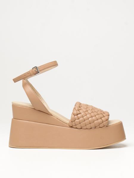 Elena Iachi: Sandalo con zeppa Elena Iachi in pelle intrecciata