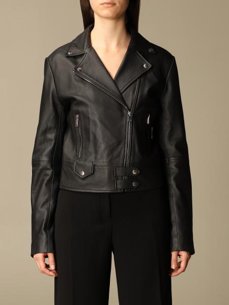 Pinko women: Pinko leather jacket with zip