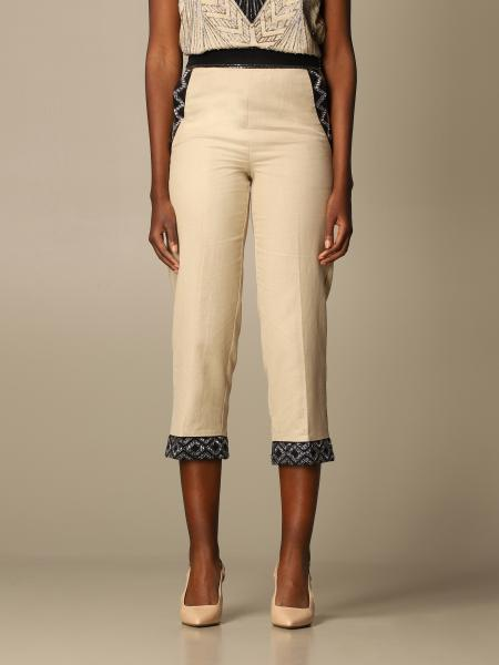 Twinset women: Twin-set Capri pants in linen blend and embroidery