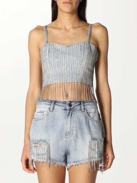 Twinset women: Twin-set cropped top with rhinestones