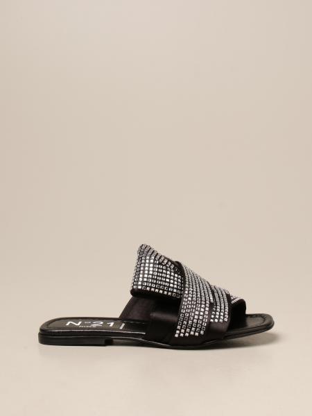 N°21 缎面和水钻凉鞋