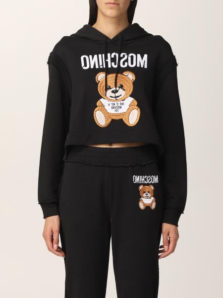 Felpa cropped Moschino Couture con teddy