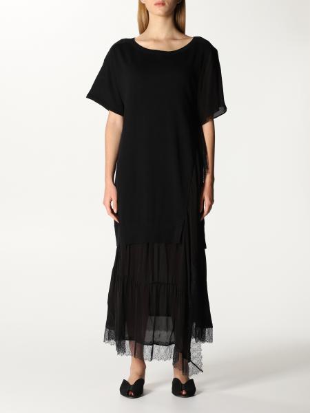 Twinset women: Twin-set long dress in cotton and linen blend