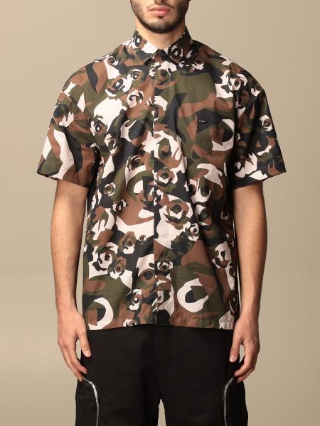 Les Hommes: Les Hommes shirt with stylized camouflage pattern