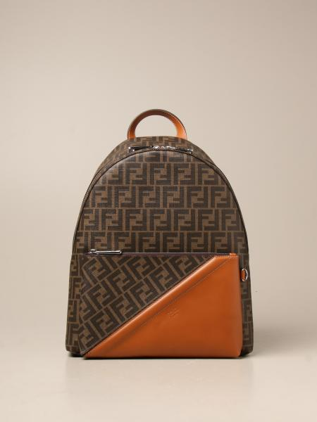 Fendi backpack in canvas with FF motif and leather