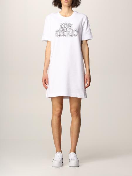 Love Moschino: Love Moschino t-shirt dress with rhinestone logo