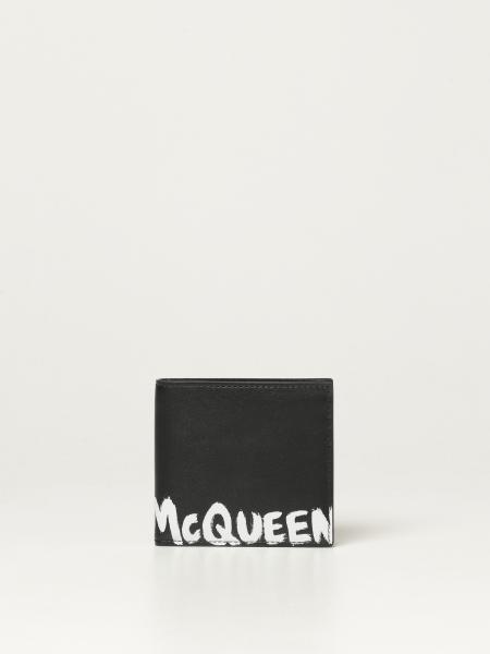 Portafoglio Alexander McQueen in pelle con logo Graffiti