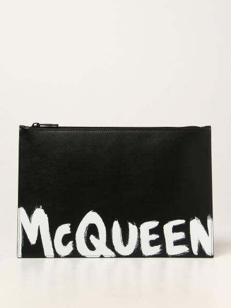 Alexander Mcqueen uomo: Pochette Alexander McQueen in pelle con logo Graffiti