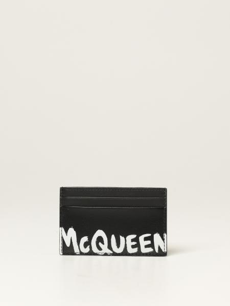 Porta carte di credito Alexander McQueen in pelle con logo