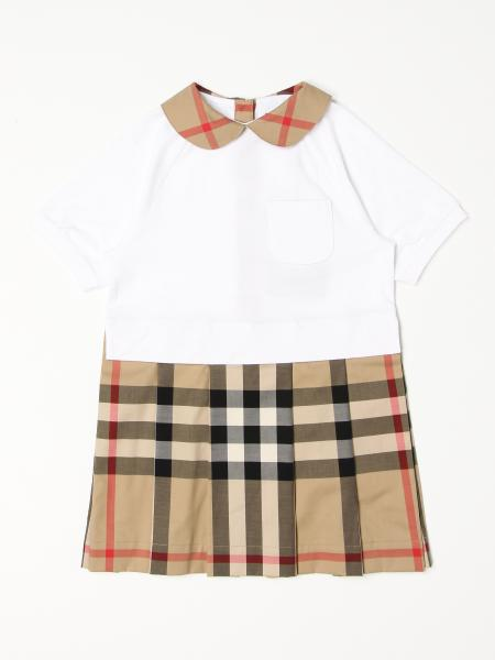 Burberry short dress in cotton with check pattern