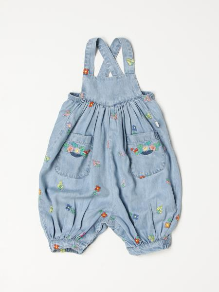 Stella McCartney denim dungarees with floral embroidery