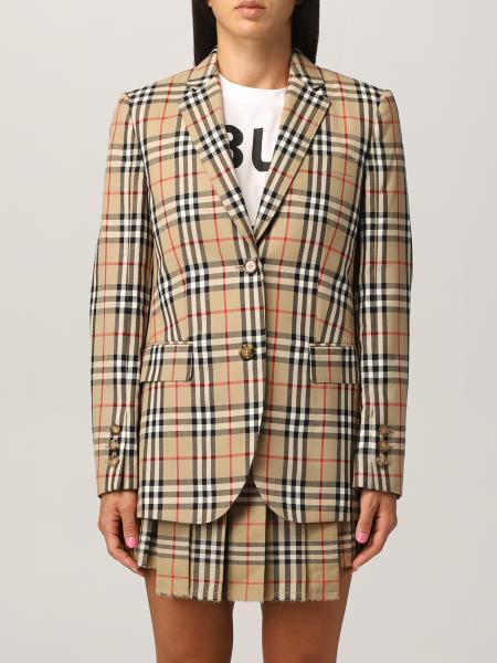 Burberry single-breasted tailored jacket in check wool