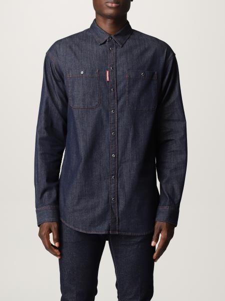 Dsquared2 uomo: Camicia di jeans Dsquared2 con logo posteriore